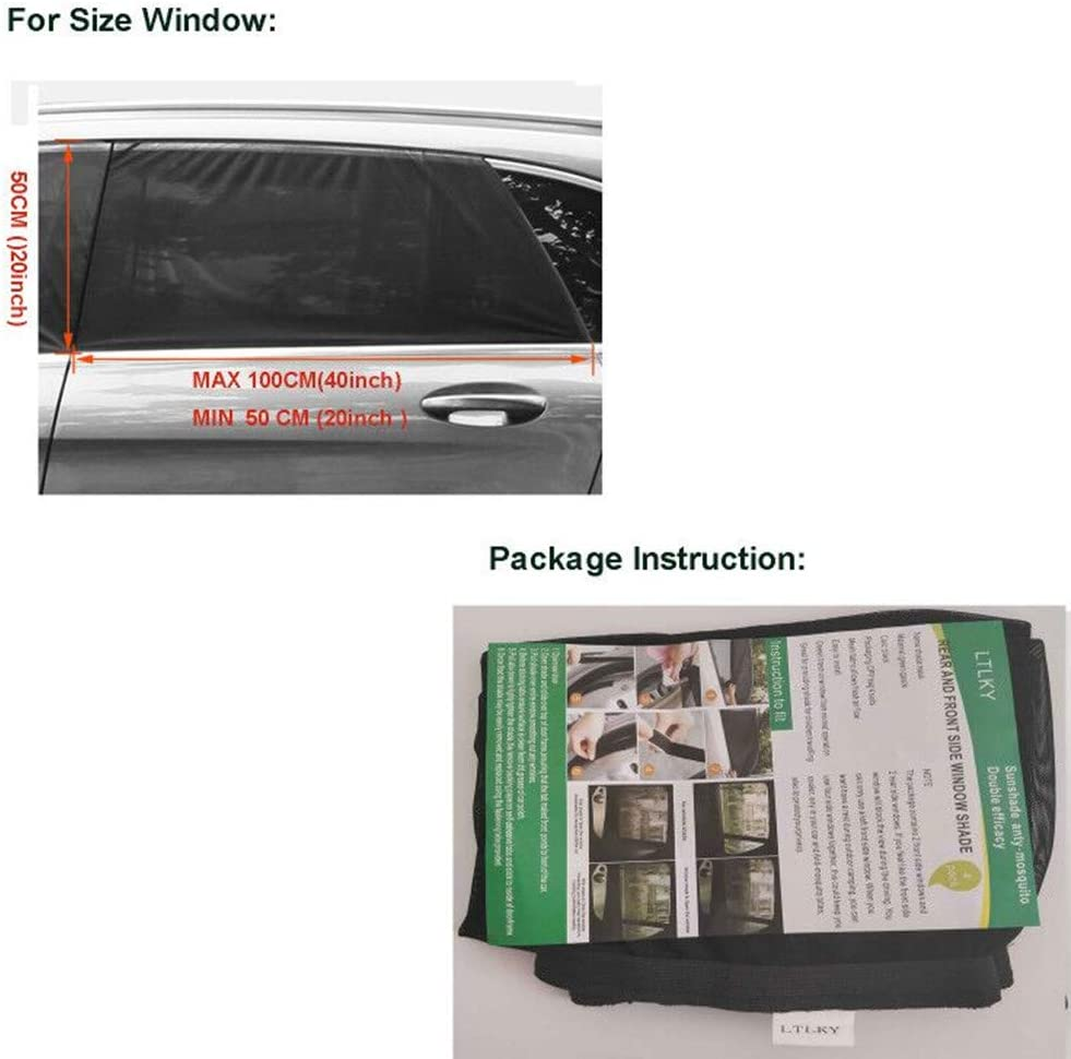 LTLKY Car Window Shades for Baby /& Pets Front and Rear Side Car Sun Shades Pack 2
