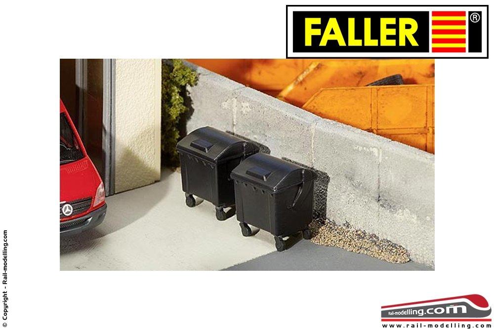 FALLER 180933 2 Mülltonnen schwarz H0