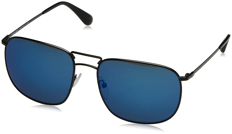 ea6dc58a45 Prada Men s PR 52TS Sunglasses Black Dark Blue Mirror Blue 60mm at Amazon  Women s Clothing store