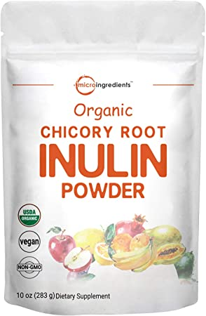 Organic Daily Prebiotic Dietary Fiber Supplement Powder, (Inulin Fiber from Chicory Root), 10 Ounce, Highly Promote Intestinal Colon, Gut Health and Digestive Function