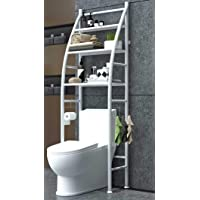 Metal Toilet Cabinet Shelving Kitchen Bathroom Space Saver Shelf Organizer Holder New, Generic, White