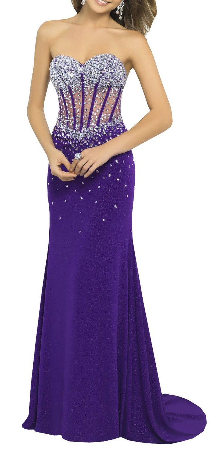 Anlin Perspective Corset Style Sexy Strapless Crystals Evening Gown Purple US16