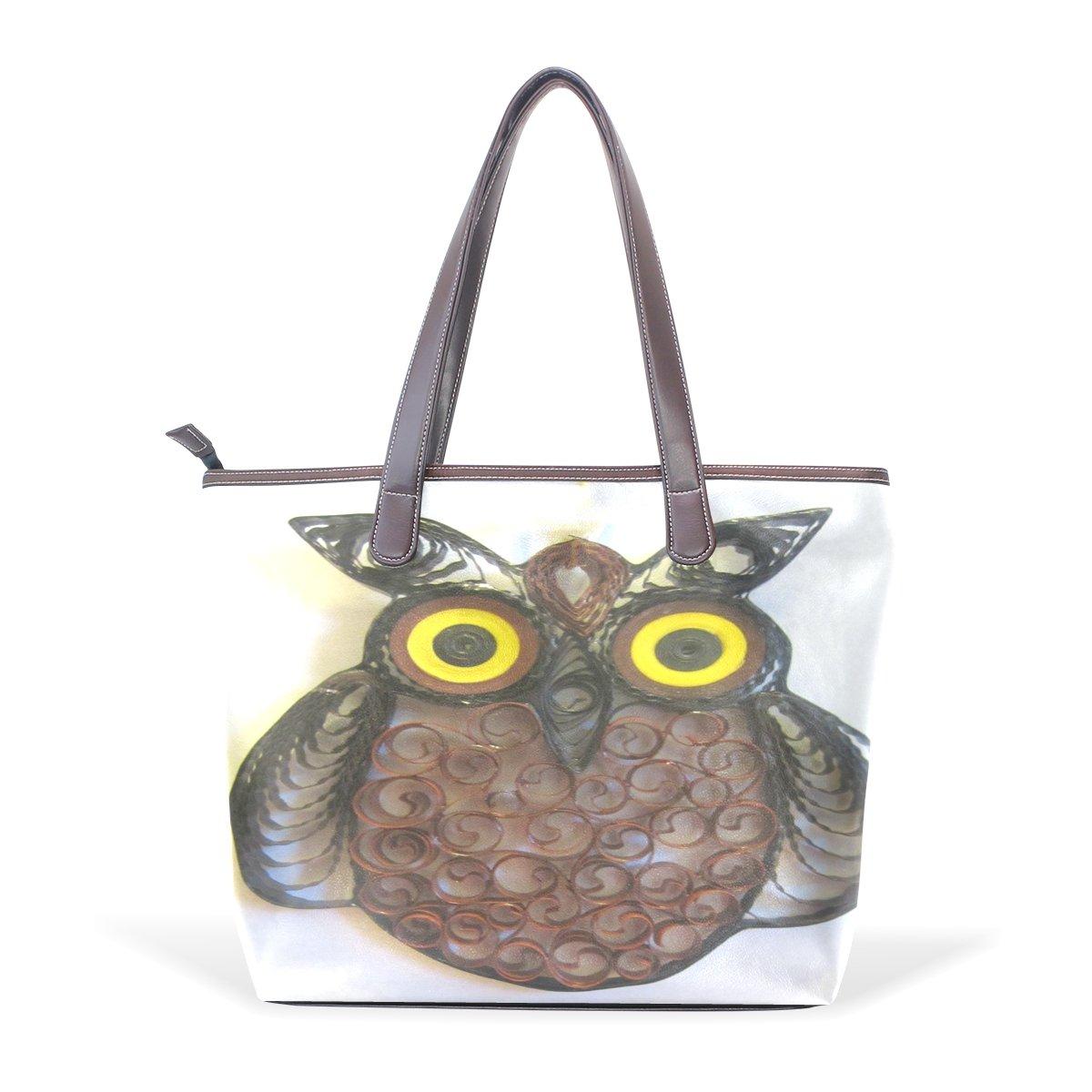 Ye Store Owl Lady PU Leather Handbag Tote Bag Shoulder Bag Shopping Bag