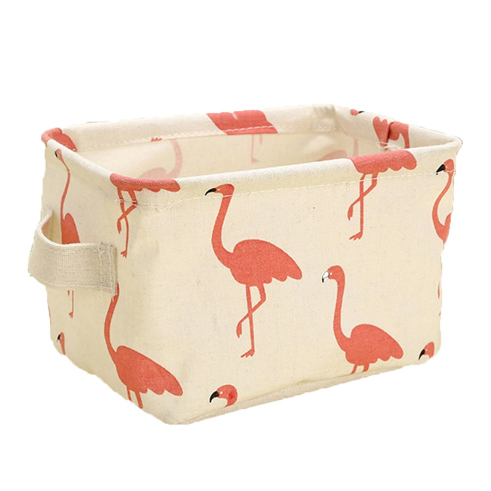 Outflower Flamingo Desktop Storage Box Cotton And Linen Portable Storage Basket Household Storage Desktop Debris Storage Box Blue