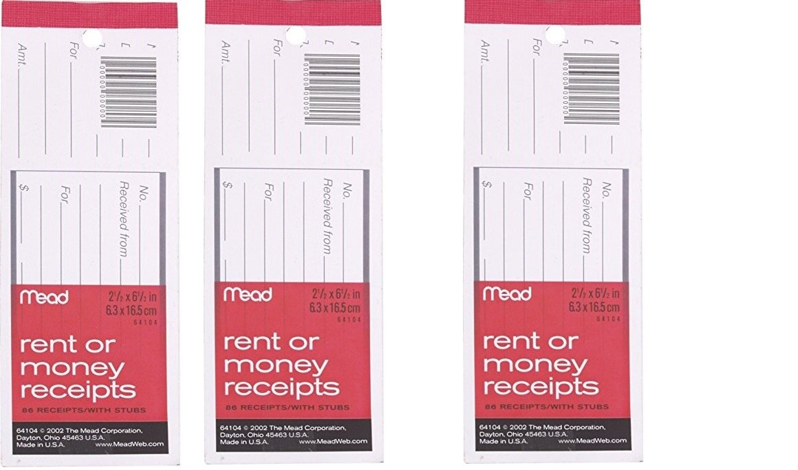 Mead Rent/Money Receipts, 86 Count, with stubs(pack of 3) 6.3cm x 16.5 cm