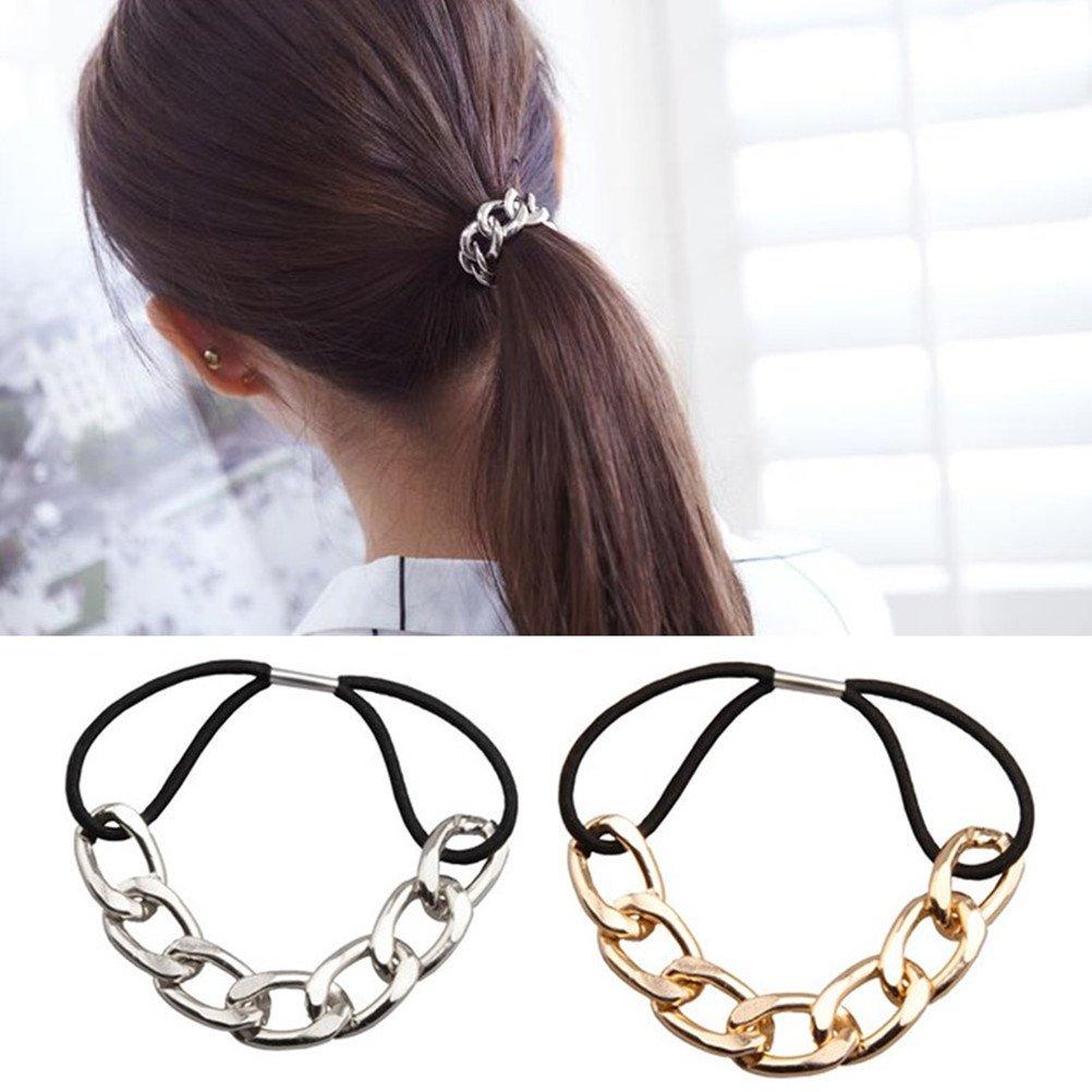 Silver Gold Metallic Star Black Wavy Elastic Ponytail Holder Hair Tie Band Ring Rope Metal Punk Rock Fashion Accessory Women Lady Girl Gift