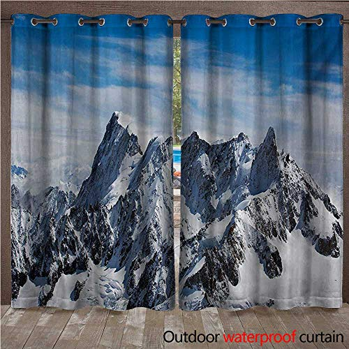 - WilliamsDecor Landscape Outdoor Curtains for Patio Sheer Picturesque Mont Blanc Cliff to Clouds Idyllic Environment Trekking Landmark W84 x L96(214cm x 245cm)