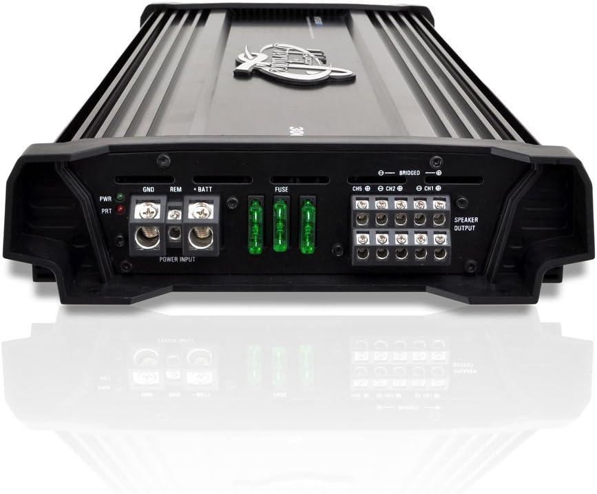 Bridgeable 4 Ohm MOSFET Bass Boost RCA Input Wireless Bluetooth HTG558BT Amplifier for Car Speakers 5 Channel Mobile Audio 2 Ohm Car Electronics Lanzar Amplifier Car Audio 3,000 Watt