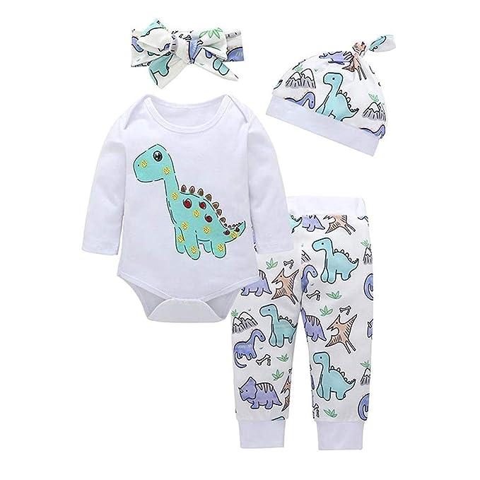 f7f49a71d WOSENHK 4Pcs Newborn Baby Boy Girl Dinosaur Outfits Long Sleeve  Romper+Animals Pants+Hats