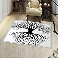 Tree Life Small Rug Carpet Plant Silhouette Roots Branches Reflection Shadow Monochrome Illustration Door mat Indoors Bathroom Mats Non Slip 2x3 Black White