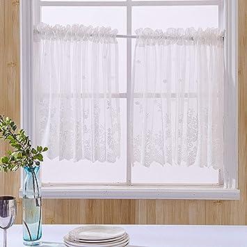 1PC cucina tende a pannello pizzo floreale ricamato metà finestra tende Tab  top semi sheer tendina decorativa per cucina bagno soggiorno Cafe, Bleach,  ...