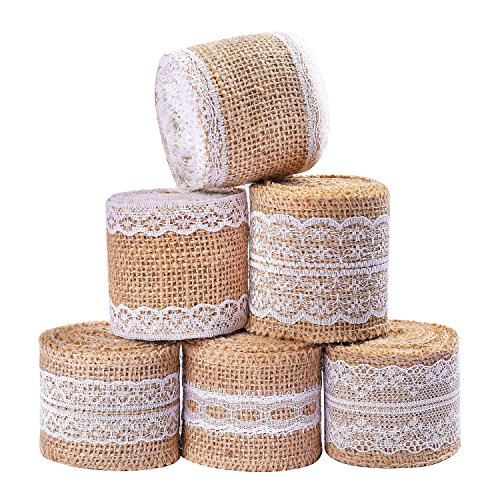 (Whaline 473 Inches Burlap Ribbon Roll with White Lace Craft Ribbon Roll for DIY, Home Decor and Gift Wrap, 6)