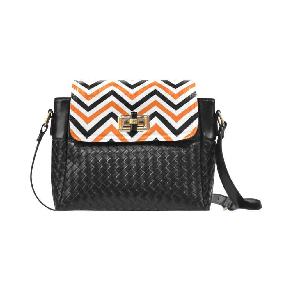 Fashion Women And Girls Gray Yellow and Black Chevron Pattern Woven Leather Crossbody Bag/Shoulder Bag/Tote Bag For Women Girls CR-65
