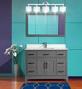 Vanity Art 48 Inch Single Sink Bathroom Vanity Set Super White Phoenix Stone Soft Closing Doors Undermount Rectangle Sinks with Free Mirror VA1048-G