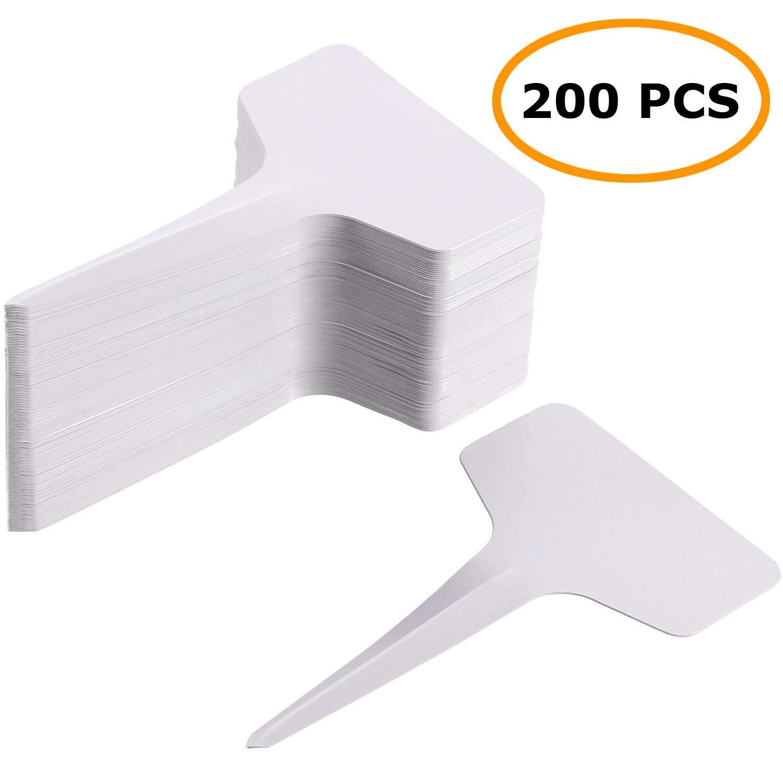MaKas Etiquetas de Tipo T para Plantas Blancas de 200 Piezas ...
