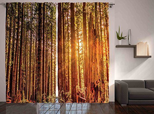 """Ambesonne United States Curtains, Tall Trees Red Woods Forest Humboldt California Sequoia Picture, Living Room Bedroom Window Drapes 2 Panel Set, 108"""" X 90"""", Brown Orange"""