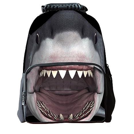 b56bba0c128a Datomarry Funny 3D Shark Student School Backpacks Kids Animal Book Bag  Rucksack