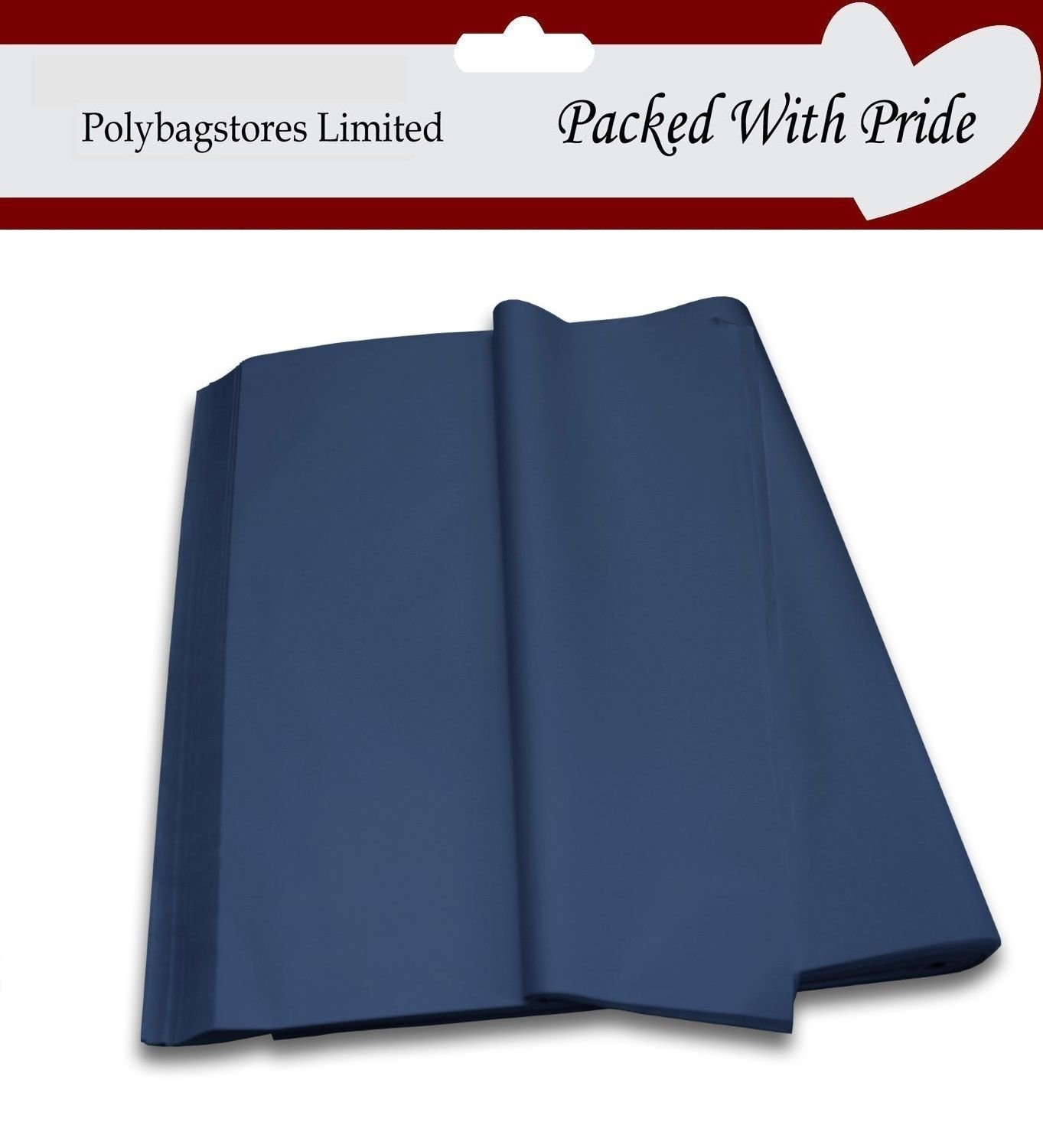 PACK OF 100 SHEETS 750mm x 500mm LUXURY ACID FREE COLOURED TISSUE PAPER- THIS TISSUE PAPER IS PRODUCED AND PACKAGED ESPECIALLY FOR POLYBAGSTORES LIMITED® (Dark Blue)