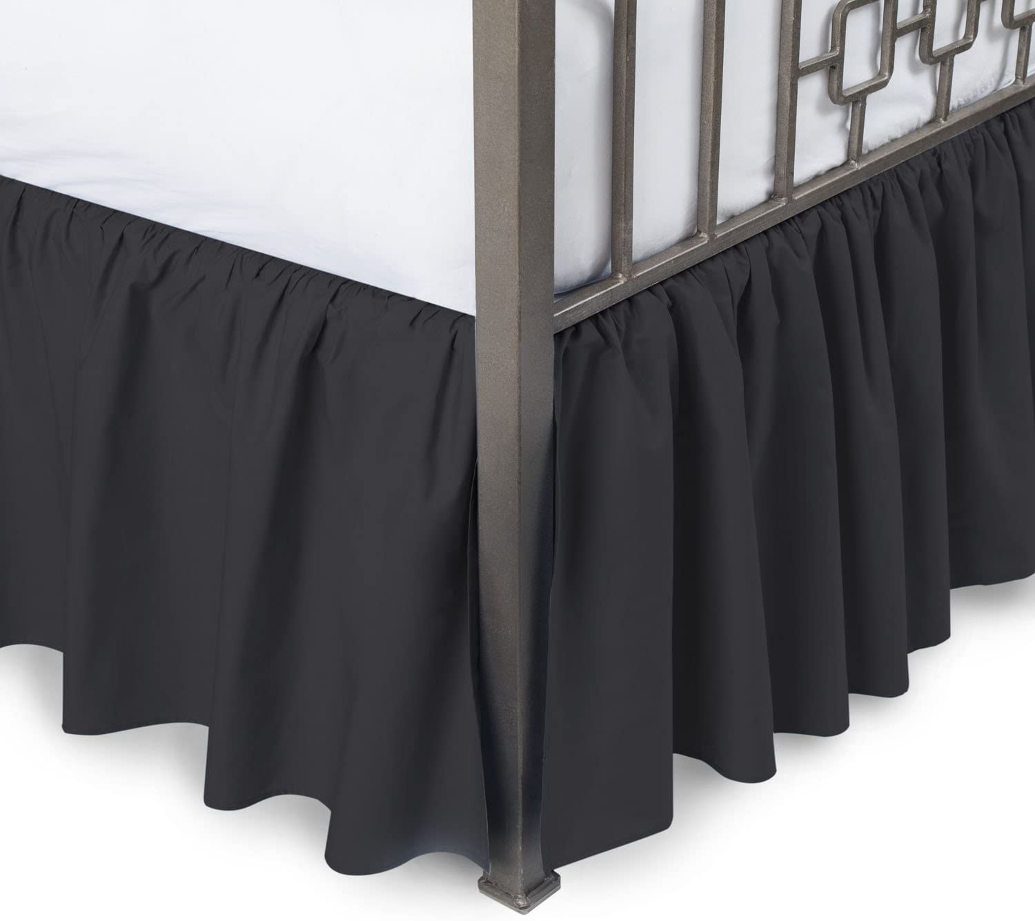 Ruffled Bed Skirt with Split Corners - Queen, Black, 18 Inch Drop Cotton Blend Bedskirt (Available in and 16 Colors) - Blissford Dust Ruffle.