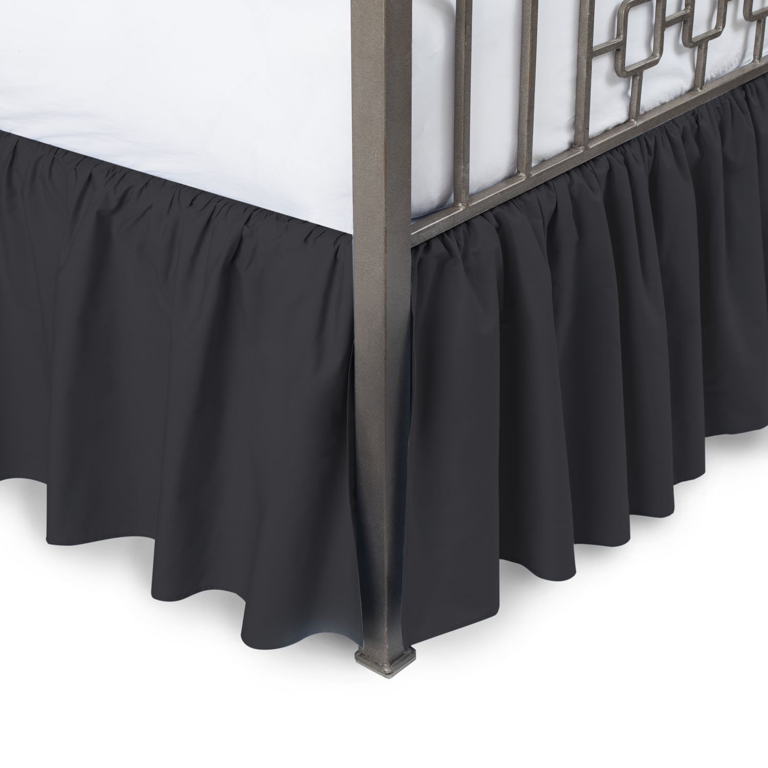 Harmony Lane Ruffled Bed Skirt with Split Corners - Queen, Black, 18 Inch Drop Bedskirt (Available in and 16 Colors)