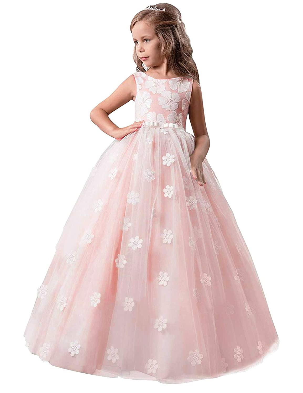 04772433829cc NNJXD Girls Princess Wedding Party Dresses Lace V-Neck Flower Printed Dress  for 7-14 Years