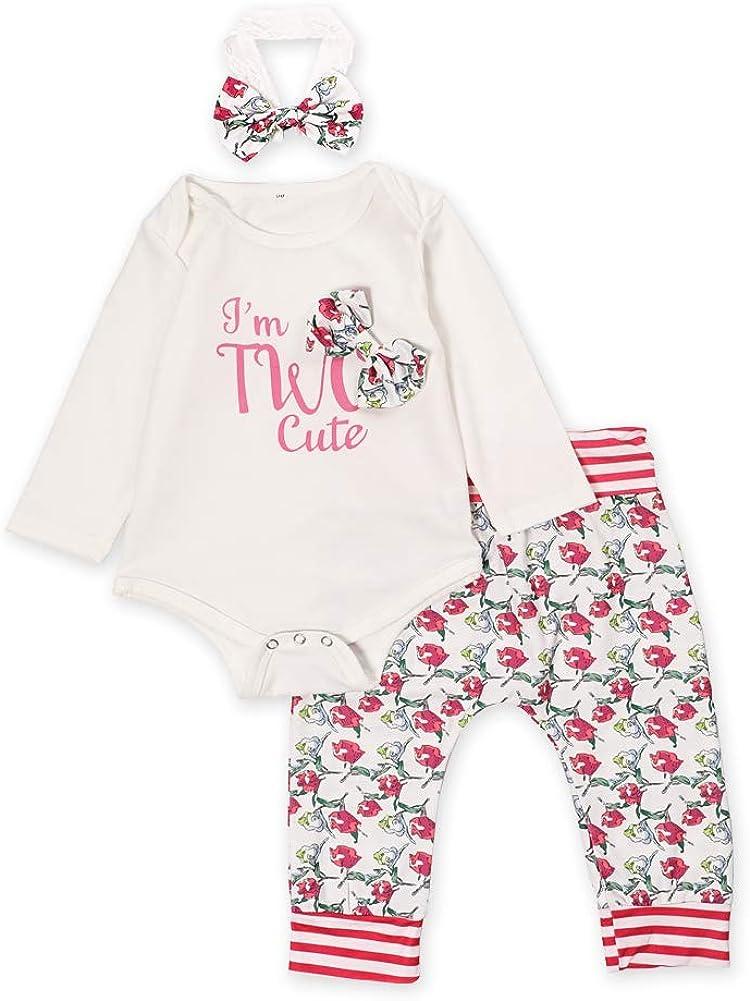 Bambina Completini Neonata Pigiami Pagliaccetto Maniche Lunghe Floreali Abbigliamento /& Stampa Floreale Pantaloni /& Fascia Abiti 3pcs Set
