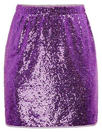 - Womens Short Body Con Sequin Club Pencil Mini Skirt Purple XL