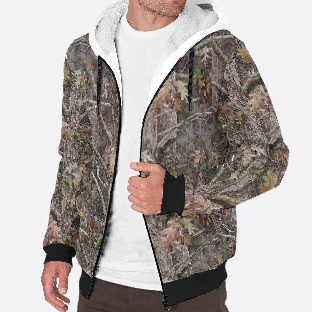 Ouniaodao Fleece Hoodies Timber Camo Mens Comfort Graphic Soft Fleece Jacket Coat white3