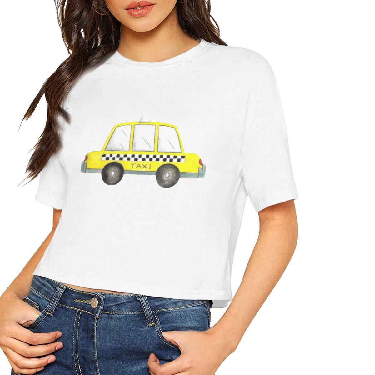 Seuriamin Taxi NYC Yellow New York City Checkered Cab Car Women Fashion Short Sleeve Leak Navel Crew Neck T-Shirts