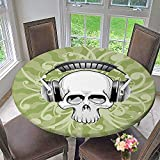 Mikihome Modern Simple Round Tablecloth Skull Skeleton Scary Head with Headphones r Pale