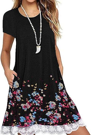 Adeliber Summer Womens Casual Lace Sleeveless Tassel Mini Dress Beach Short Dress