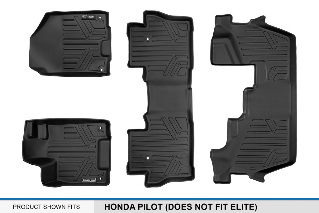SMARTLINER Floor Mats 3 Row Liner Set Black for 2016-2018 Honda Pilot (No Elite Models) by MAX LINER (Image #6)