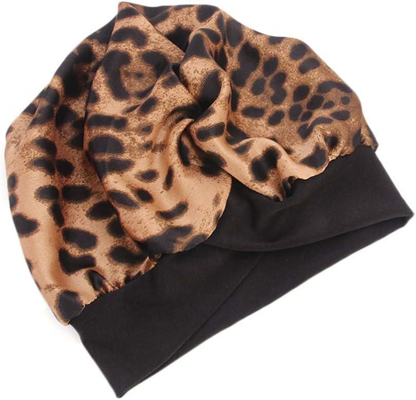 Minkissy gorro de dormir de noche de satén sedoso suave gorra de quimioterapia con estampado de leopardo gorra de pérdida de cabello cubierta de cabeza para dormir para mujeres niñas
