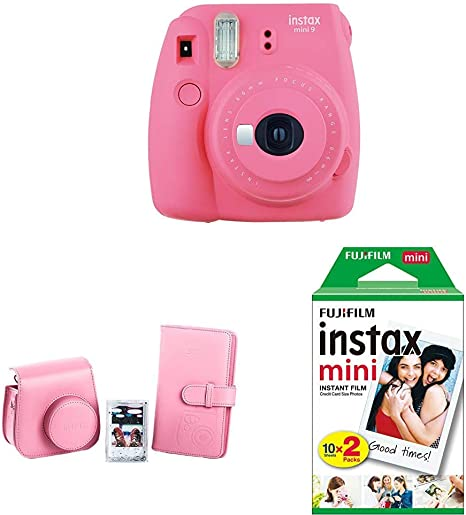 Fujifilm Instax Mini 9 - Cámara instantánea, Rosa + Kit de Accesorios (Funda Desmontable, Álbum 108 Fotos, Marco de metacrilato) Rosa Flamenco + Pack de 20 películas fotográficas instantáneas, blanco: Amazon.es: Electrónica