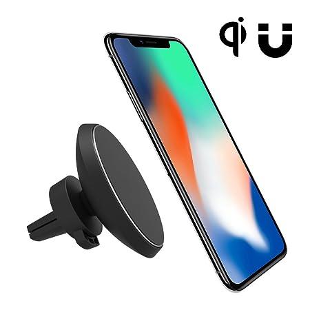 Magnética del coche del montaje del cargador, teléfono celular neotrix inalámbrica Qi Mobile Standard salida de aire del montaje del imán de la horquilla ...
