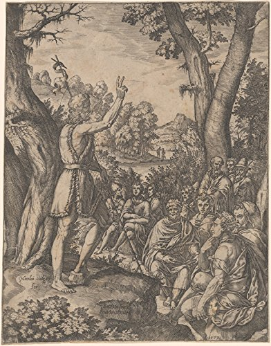 Historic Pictoric Print - St. John the Baptist Preaching in the Wilderness, 1573 - Vintage Wall Art - 36in x 44in