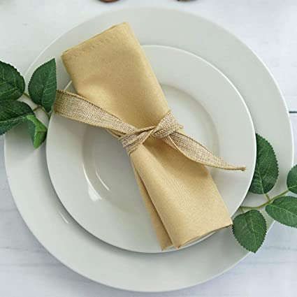 Efavormart 20x20 Champagne Wholesale Polyester Linen Napkins For Wedding Birthday Party Tableware 5 Pcs