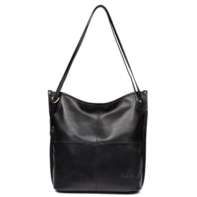 431dba2258 Amazon.com  BOSTANTEN Women Leather Hobo Handbags Tote Purse Top-handle Shoulder  Bag on Sale Black  Clothing