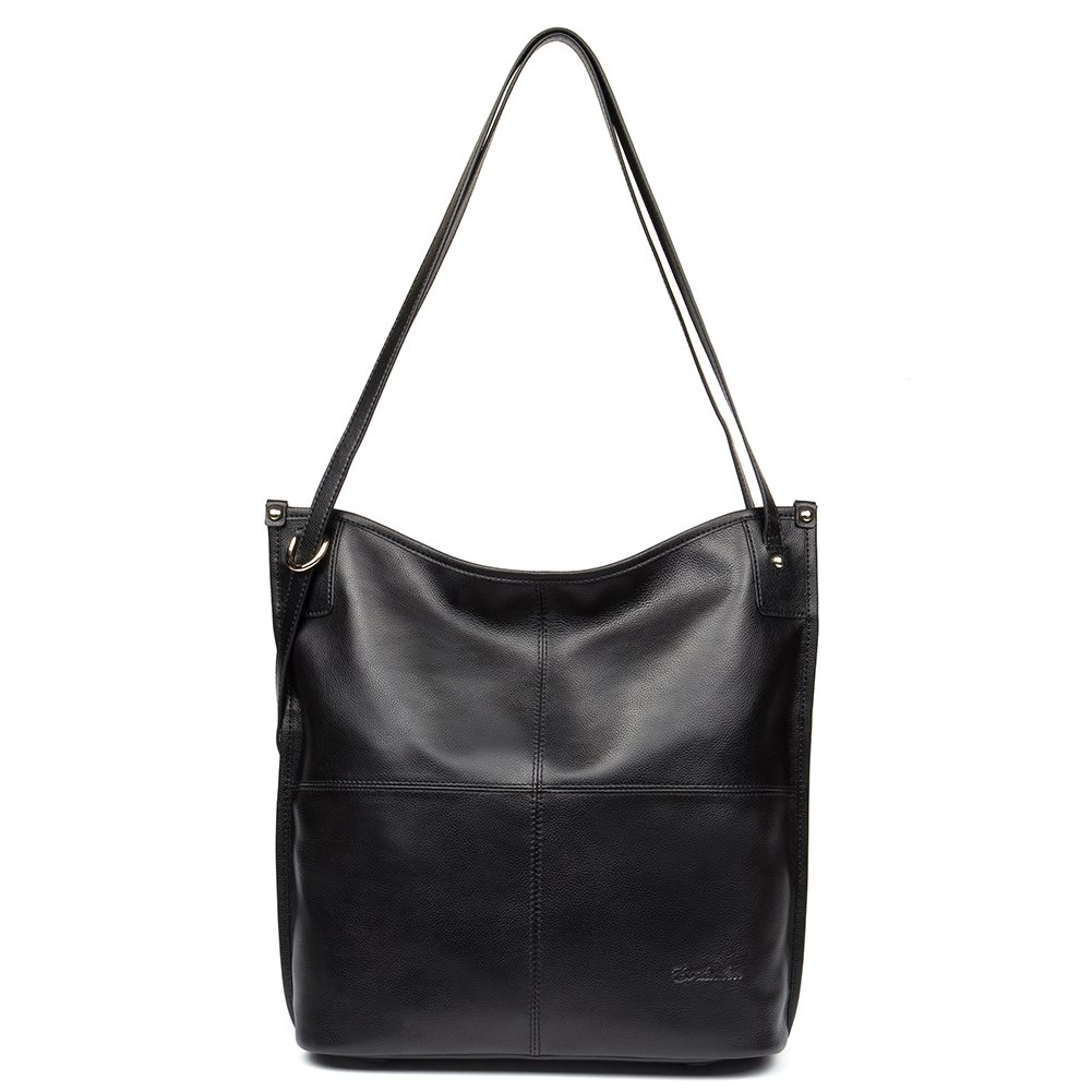 Mother's Day Gifts BOSTANTEN Women Leather Hobo Handbags Tote Purse Top-handle Shoulder Bag on Sale Black by BOSTANTEN (Image #1)
