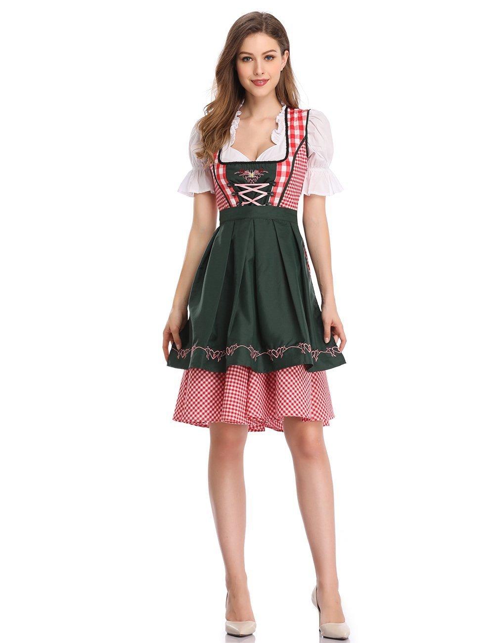 Leoie Women's Oktoberfest Formal Dress Plaid Embroidery Petals Sleeve A Swing Party Dress Suits
