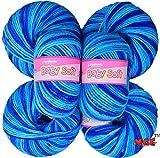 Vardhman Acrylic Knitting Wool, (Multi Azure) Pack of 6 Baby Soft Wool Ball Hand knitting wool / Art Craft soft fingering crochet hook yarn, needle knitting yarn thread dyed