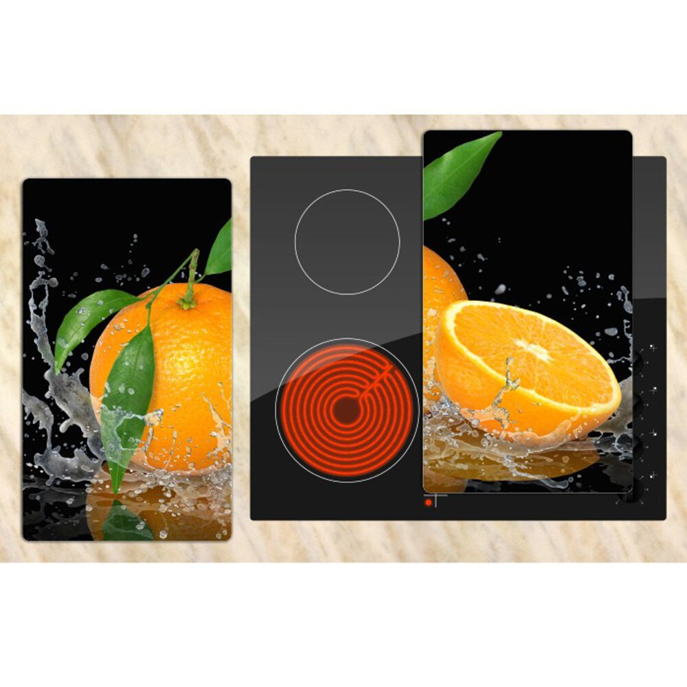 inklusive Noppen Muster gr/ün Spritzschutz Herdabdeckung 2 St/ück 30x52 cm Schneidebrett Herdabdeckplatten aus Glas 2er-Set DEKOGLAS