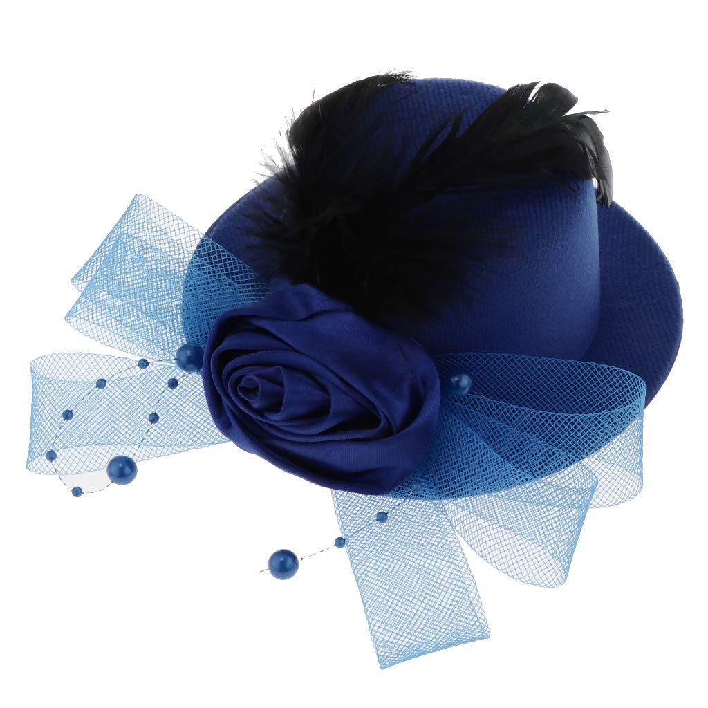 F Fityle M/ädchen Fascinator Blumen Netz Braut Kopfschmuck Haar Clip Hut Feder Haarschmuck Kopfbedeckung