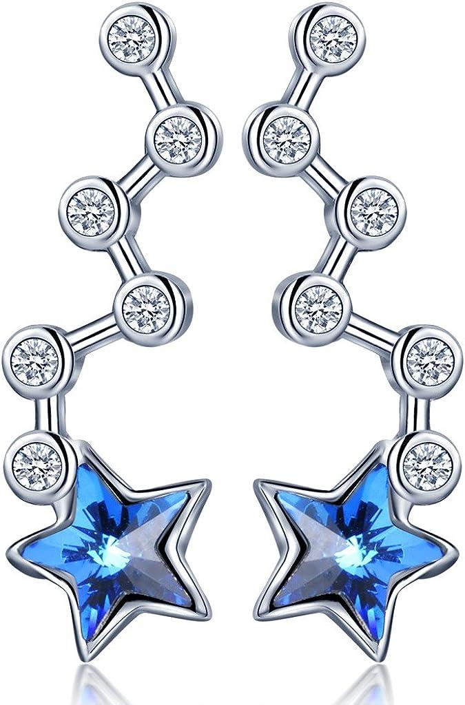 Infinito U- Pendientes Trepadores de Plata 925 Estrellas Cristal Azul Forma en Osa Mayor para Mujeres Chicas