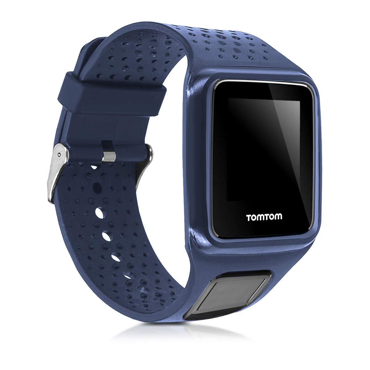 kwmobile Pulsera para Tomtom Runner 1 / Golfer 1 - Brazalete de Silicona en Azul Oscuro sin Fitness Tracker