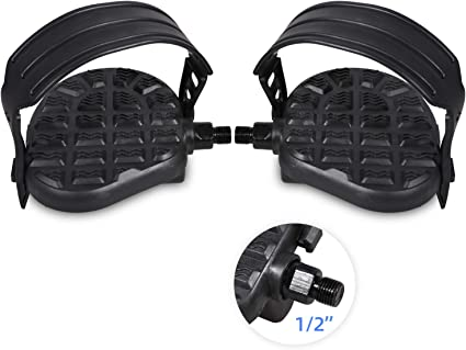 Upright Cycling  Recumbent Bike Pedals With Straps Exercise Bike Pedals 9//16/""
