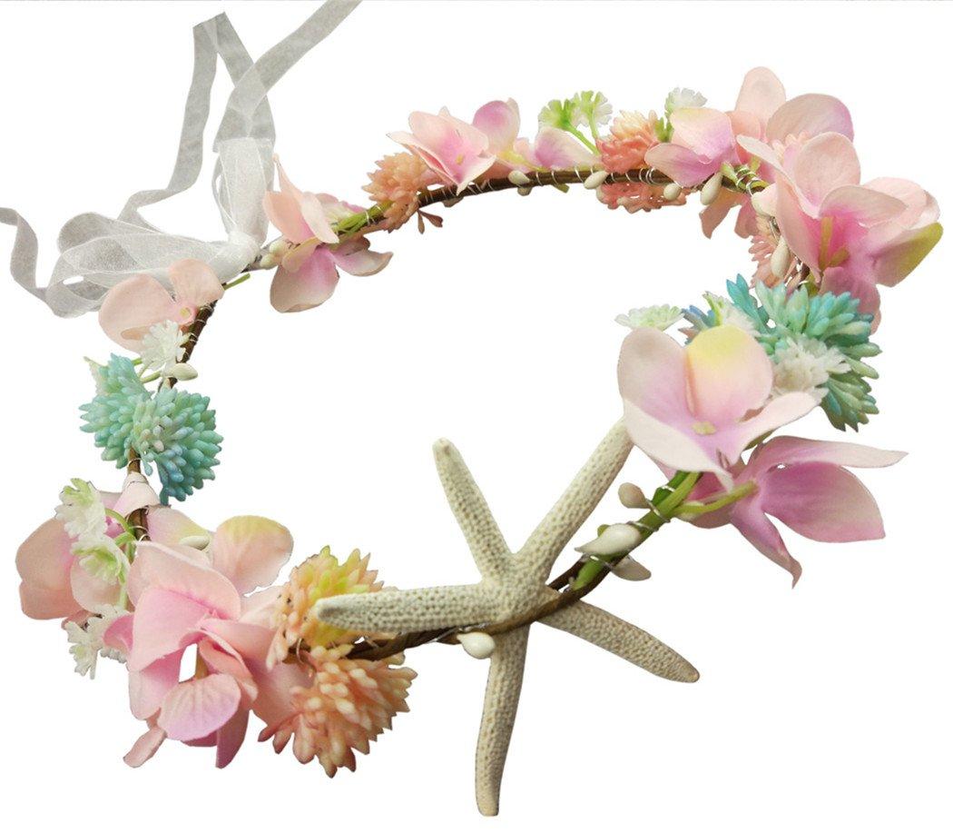 Hixixi Handmade Beach Wedding Bridal Starfish Headband Flower Mermaid Garland(Pink)