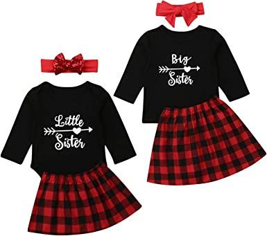 Sister Matching Outfit Kid Baby Girl Little//Big Sister Romper Dress Xmas Clothes