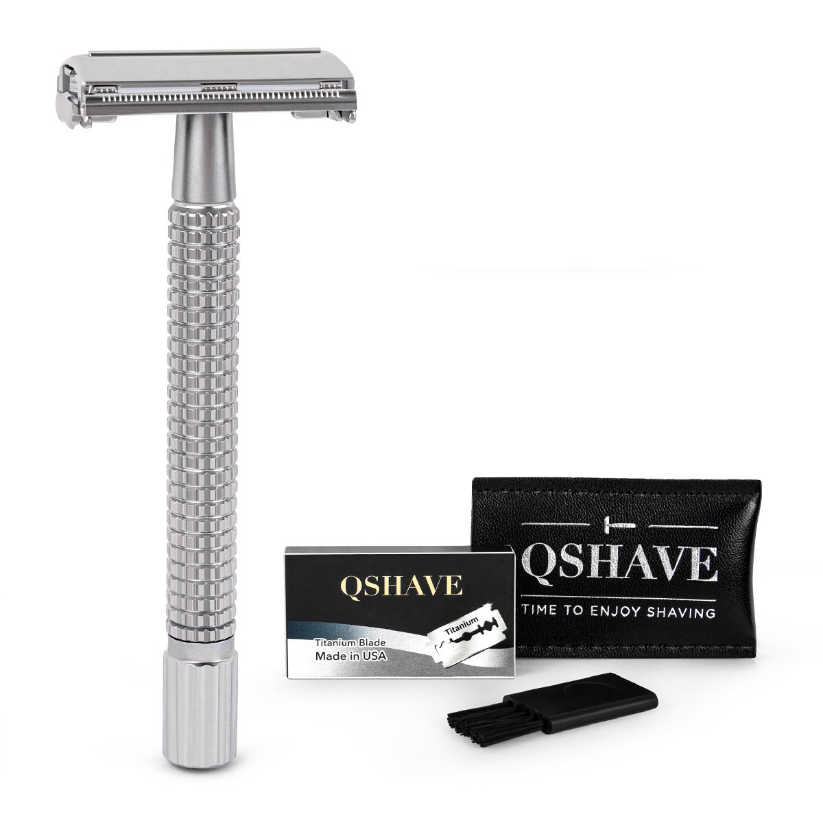 QSHAVE Double Edge 4 inch Long Handle Safety Razor Twist Butterfly Open Chrome Matte Finish (1 Razor + 5 pcs Titanium Coated Blades)