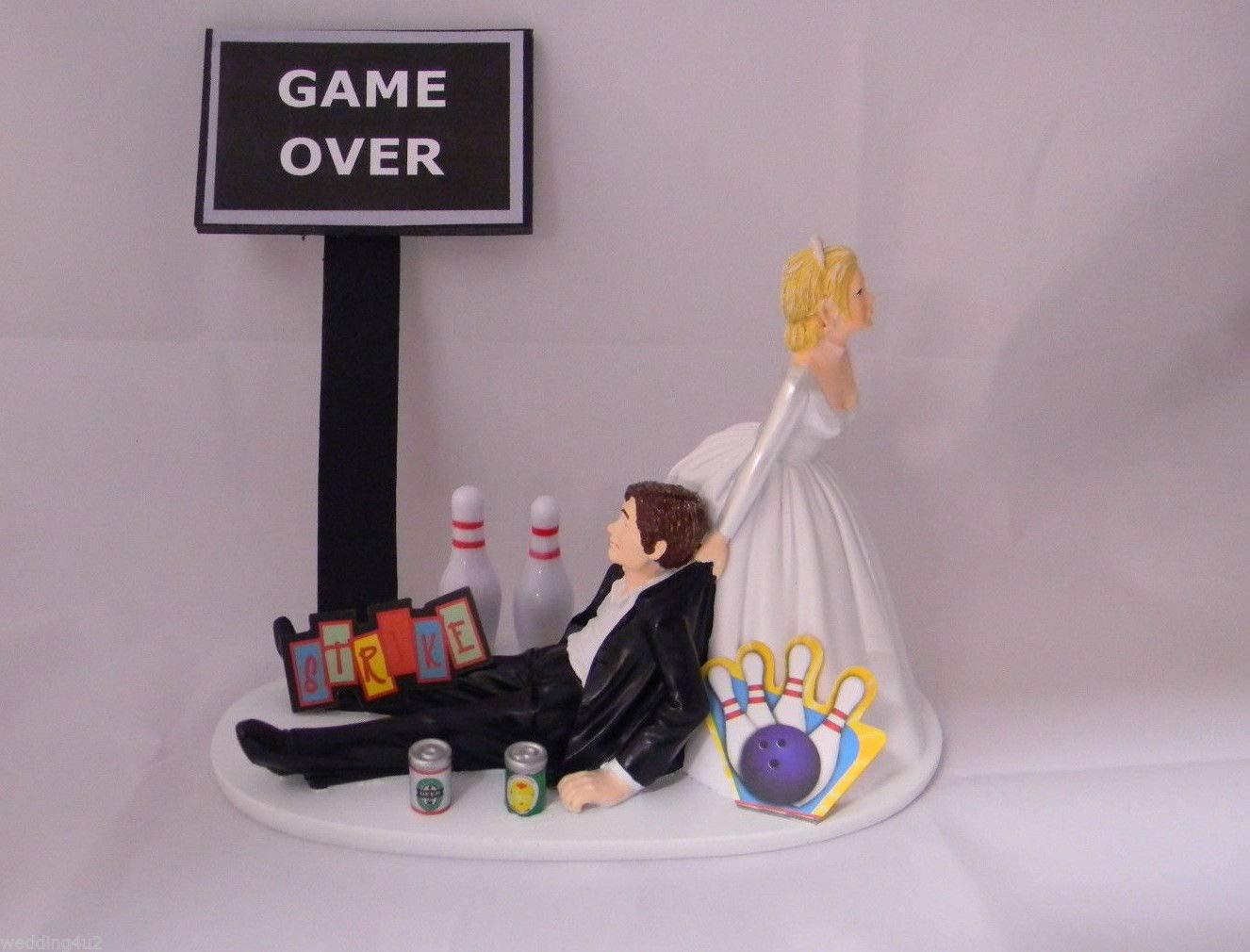Wedding reception Bowling League Strike Beer Cake Topper